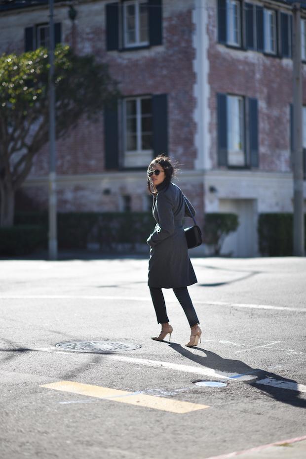Gray coat, gray trousers