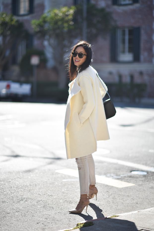 Burberry coat, current elliott jeans, jimmy chop lace-up heels