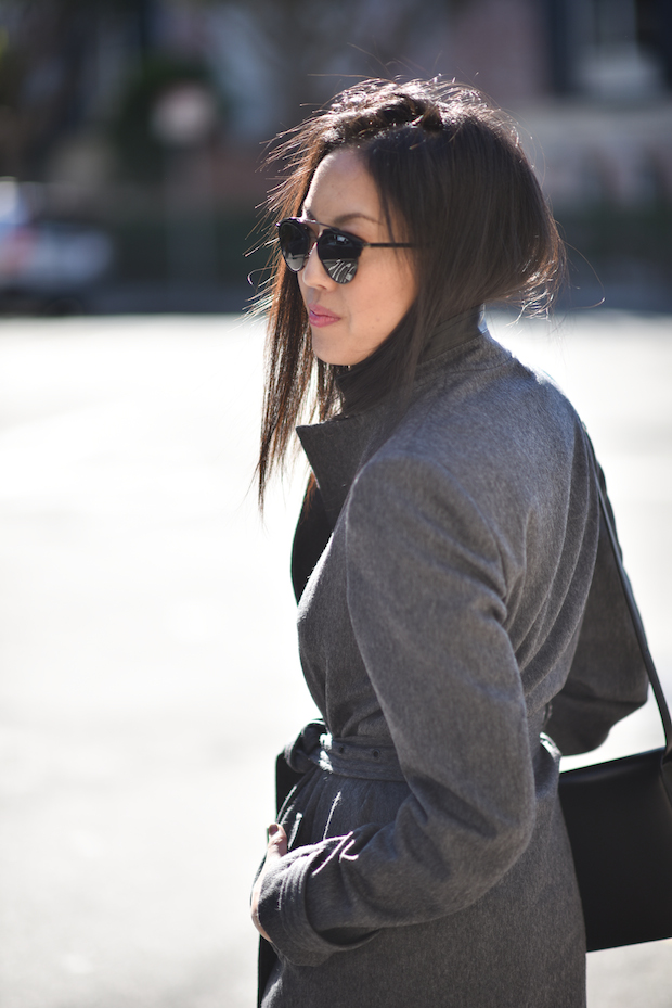 gray wool cashmere coat, dior so-real sunglasses
