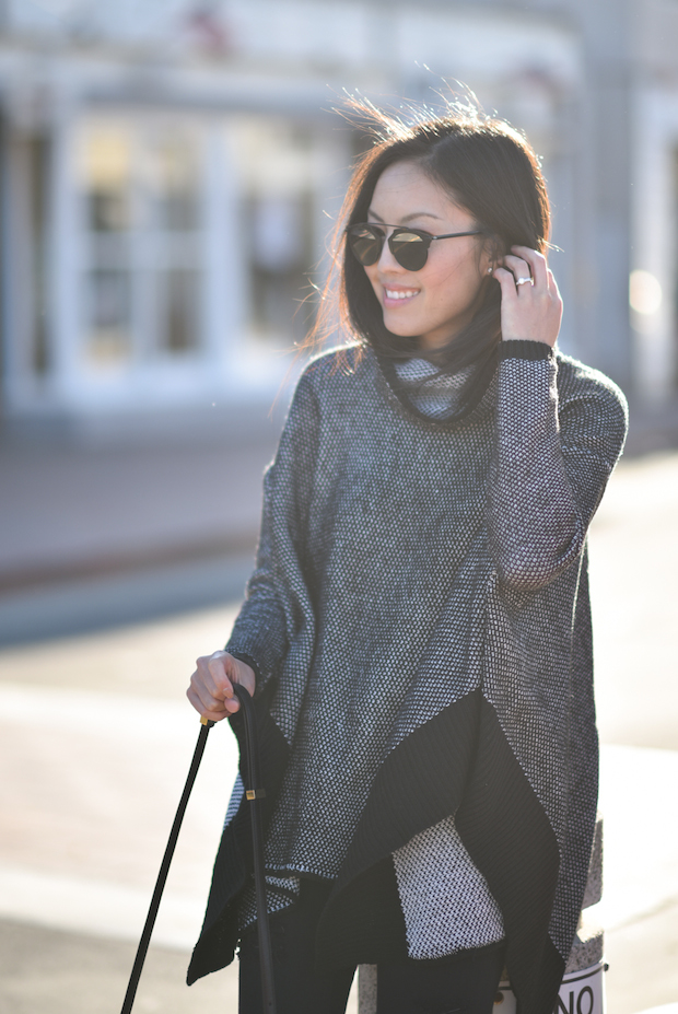 Poncho sweater, Frame denim ripped jeans, loeffler randall lace-up flats,, dior sunglasses