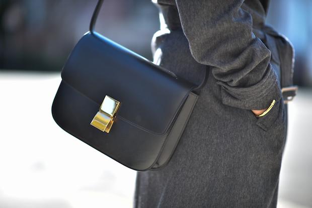 celine box bag, gray coat