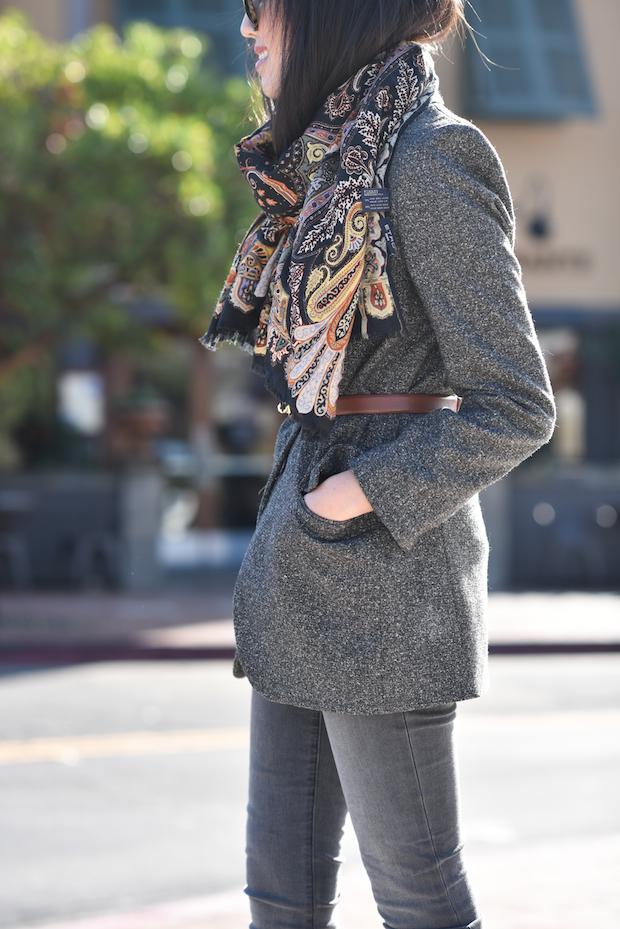 belted blazer, etro scarf