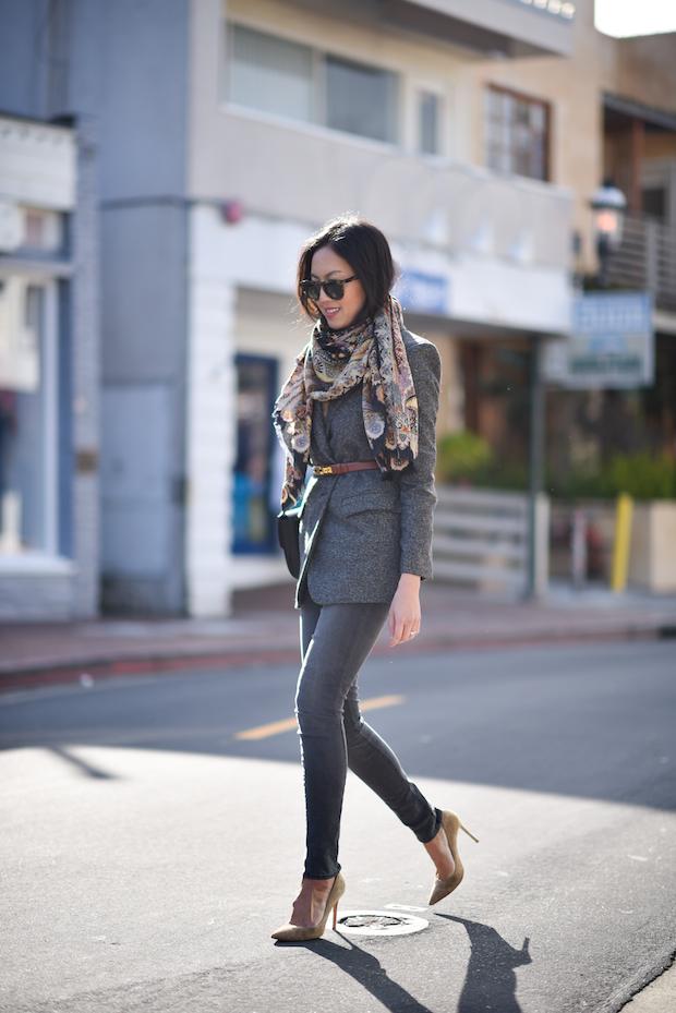 belted blazer, scarf, j brand jeans