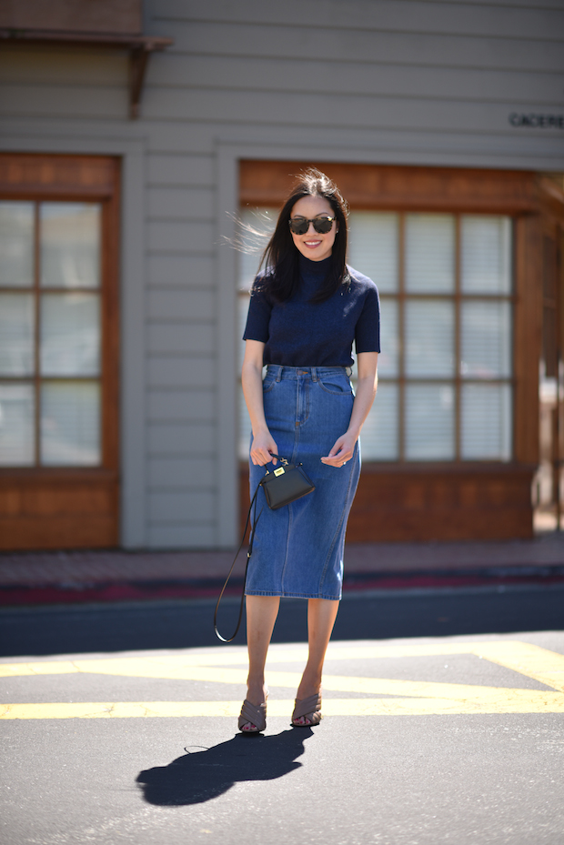 creative high waisted jean skirt outfit dresses