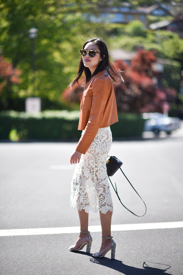 lace-skirt-leather-jacket