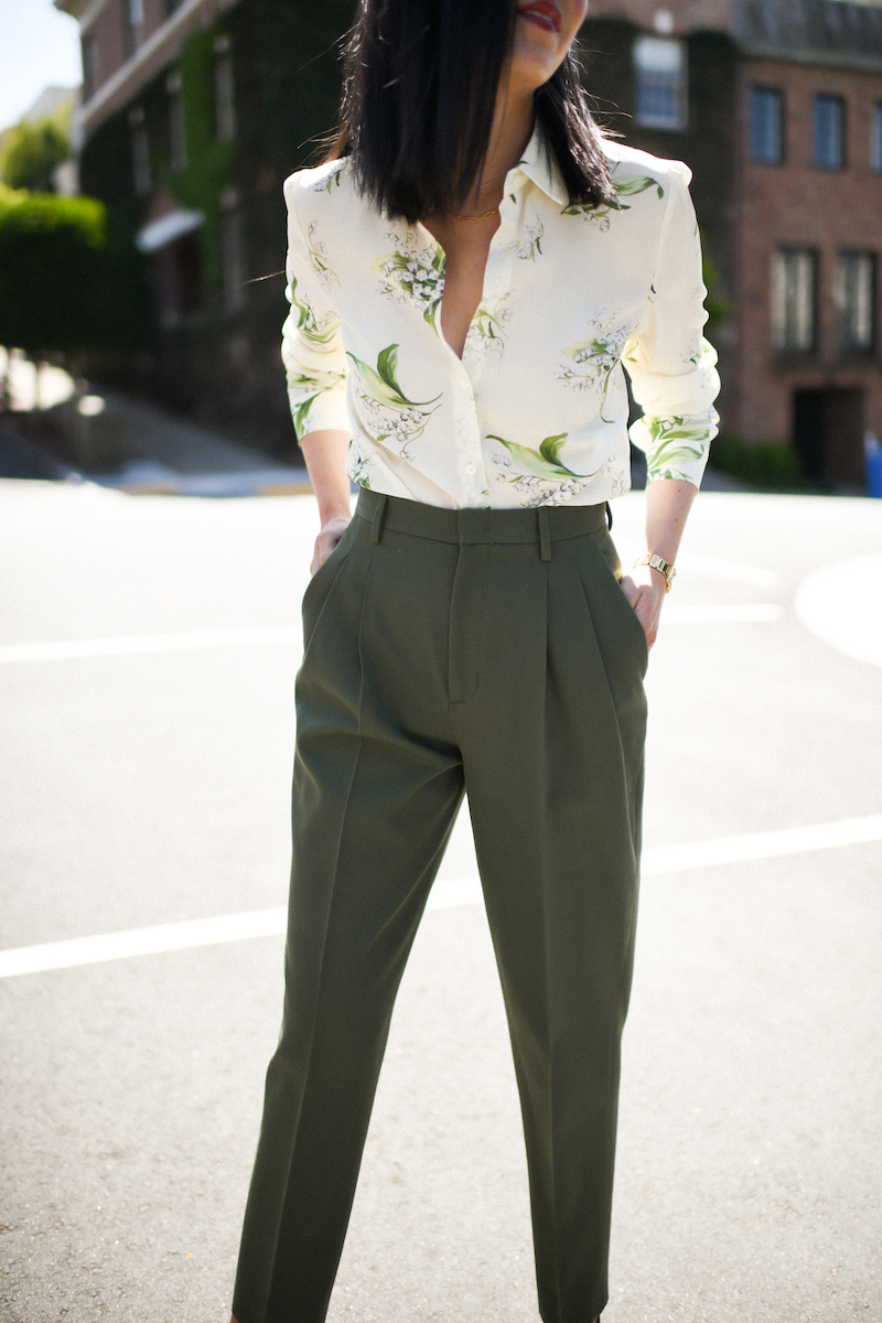 Olive pants, silk blouse