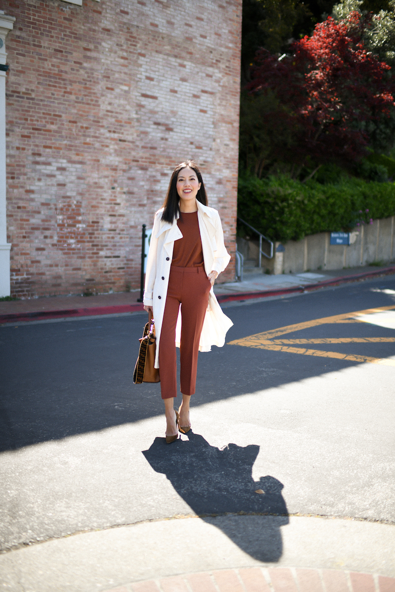 Beige silk trench, terracotta silk top and trousers